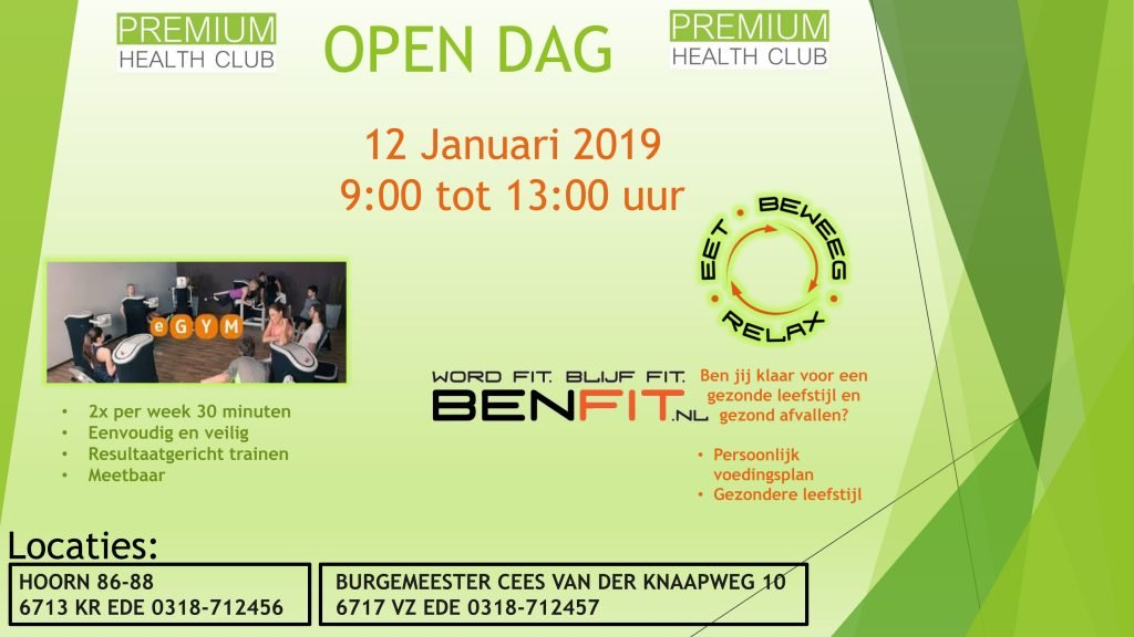 Open dag Premium Health Club op 12 januari